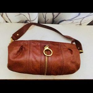 Small brown leather hobo